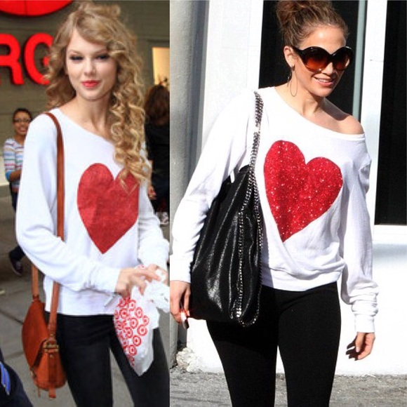 9332dba528d5db Wildfox Sweaters | White Red Sparkle Heart Beach Jumper L | Poshmark